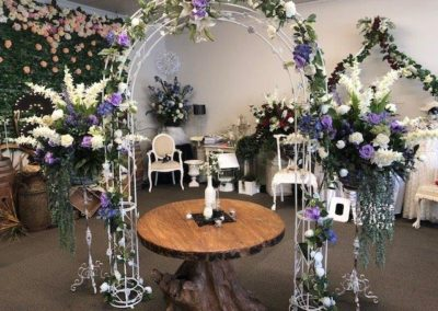 Flower baskets on stands & matching arch