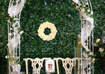 Rose arch with vine and fabric (1)