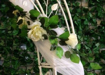 Rose arch with vine and fabric (2)