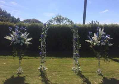 Rose arch with vines and flowers